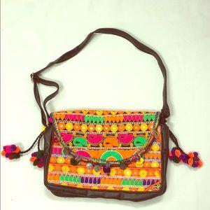 Multi colored embroidered leather shoulder bag